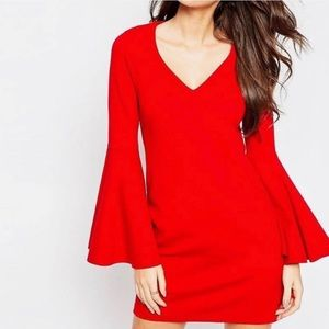 AS0S Red V-neck Dress with Flare Sleeves Size 8